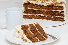Carrot Cake and Coffee Cup Royalty Free Stock Photos