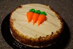 Carrot Cake. On counter with decorative design Stock Image