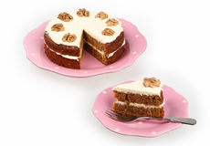 Carrot cake with cream Stock Image