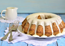 Carrot cake with cream glaze. Stock Photo