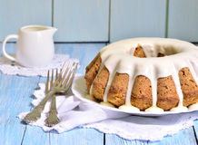 Carrot cake with cream glaze. Royalty Free Stock Photo