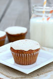 Carrot Cake Cupcake. With cream cheese frosting stock photo