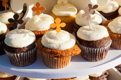 Carrot Cake Cupcakes. Wedding cupcakes of chocolate, vanilla, and carrotcake at a wedding reception Royalty Free Stock Images