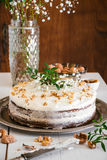 Carrot cake decorated with flowers Stock Photography