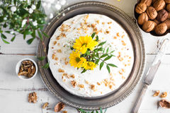 Carrot cake decorated with flowers Stock Image