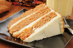 Carrot cake and egg nog Royalty Free Stock Image