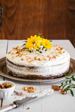 Carrot cake with flowers Stock Photography
