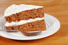 Carrot cake with a fork Stock Images