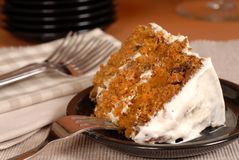 Carrot cake with fork Stock Image