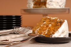 Carrot cake with forks Stock Photo