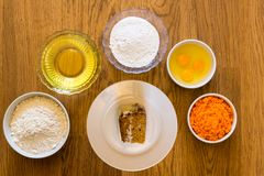 Carrot cake ingredients stock images