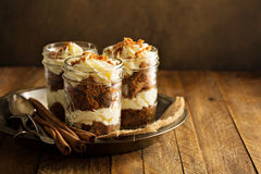 Carrot cake in a jar Royalty Free Stock Photography