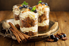Carrot cake in a jar Royalty Free Stock Image