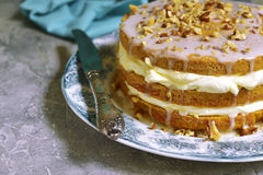 Carrot cake with mascarpone and whipped cream. royalty free stock images