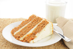 Carrot cake and milk Stock Photography