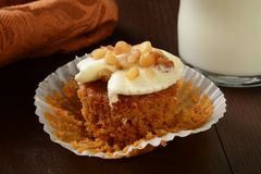 Carrot cake and milk Royalty Free Stock Photo