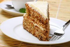 Carrot cake and mint tea Royalty Free Stock Images