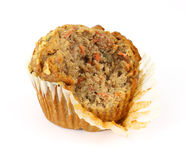Carrot cake muffin that has had one bite Royalty Free Stock Image