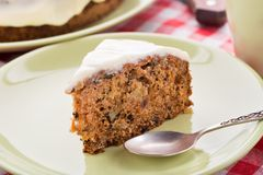 Carrot cake with nuts and cinnamon Royalty Free Stock Images