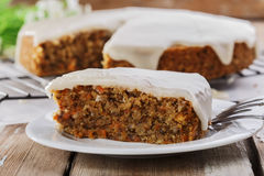 Carrot cake with nuts Royalty Free Stock Images