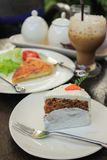Carrot cake. Pie coffee on the table Stock Photo