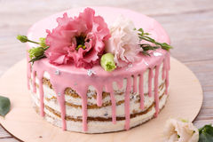 Carrot cake with pink glaze Stock Photo