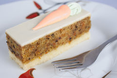 Carrot cake on a plate Royalty Free Stock Images