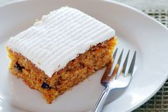 Carrot cake on a plate with fork Stock Photography