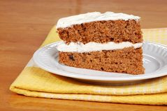 Carrot cake on a plate with yellow napkin Stock Photography