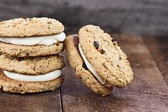 Three Carrot Cake Cookies Sandwiches Royalty Free Stock Image