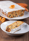 Carrot cake . Carrot cake with raisins and cottage cheese stock image