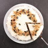 Carrot cake slice. Top view royalty free stock photography