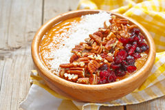Carrot cake smoothie in a bowl. Carrot cake smoothie with cinnamon in a bowl Stock Photo