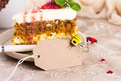 Carrot cake with strawberry sauce Stock Images