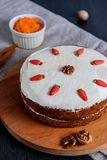 Carrot cake with sugar decoration Royalty Free Stock Photo