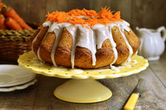 Carrot cake with sugar glaze. royalty free stock photography