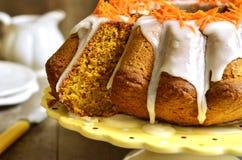 Carrot cake with sugar glaze. royalty free stock photos