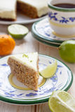 Carrot cake with walnuts and glaze Stock Photos