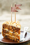 Carrot cake with walnuts, prunes and dried apricots Royalty Free Stock Photos