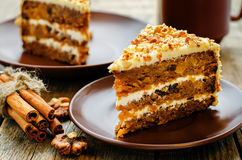 Carrot cake with walnuts, prunes and dried apricots Stock Images