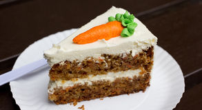 Carrot cake. On a white dish stock photography