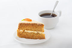 Carrot Cake on white dish with hot drink Stock Photo
