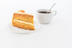 Carrot Cake on white dish with hot drink Royalty Free Stock Photography