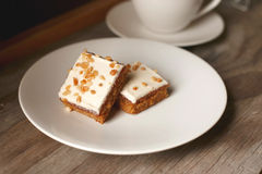 Carrot Cake. On a white plate Stock Photos