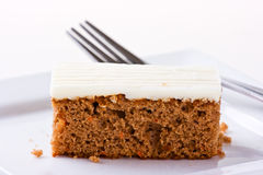 Carrot Cake on white plate. Sallow depth of field Stock Photos