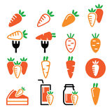 Carrot, carrot meals - cake, juice  icons set Stock Photography