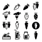 Carrot, carrot meals - cake, juice  icons set Royalty Free Stock Image