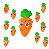 Carrot cartoon with many expressions Stock Image