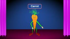 Carrot Cartoon-On Stage-Speaks Recipes stock video