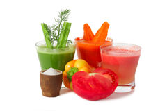 Carrot, celery and tomato juice Royalty Free Stock Image